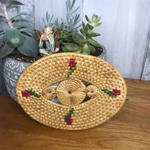 Vintage woven straw hot plate for kitchen